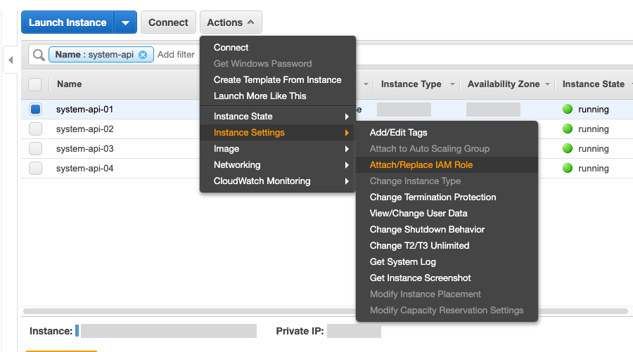 Go to the EC2 Dashboard, select Instances, Instance Settings, Attach/Replace IAM Role.