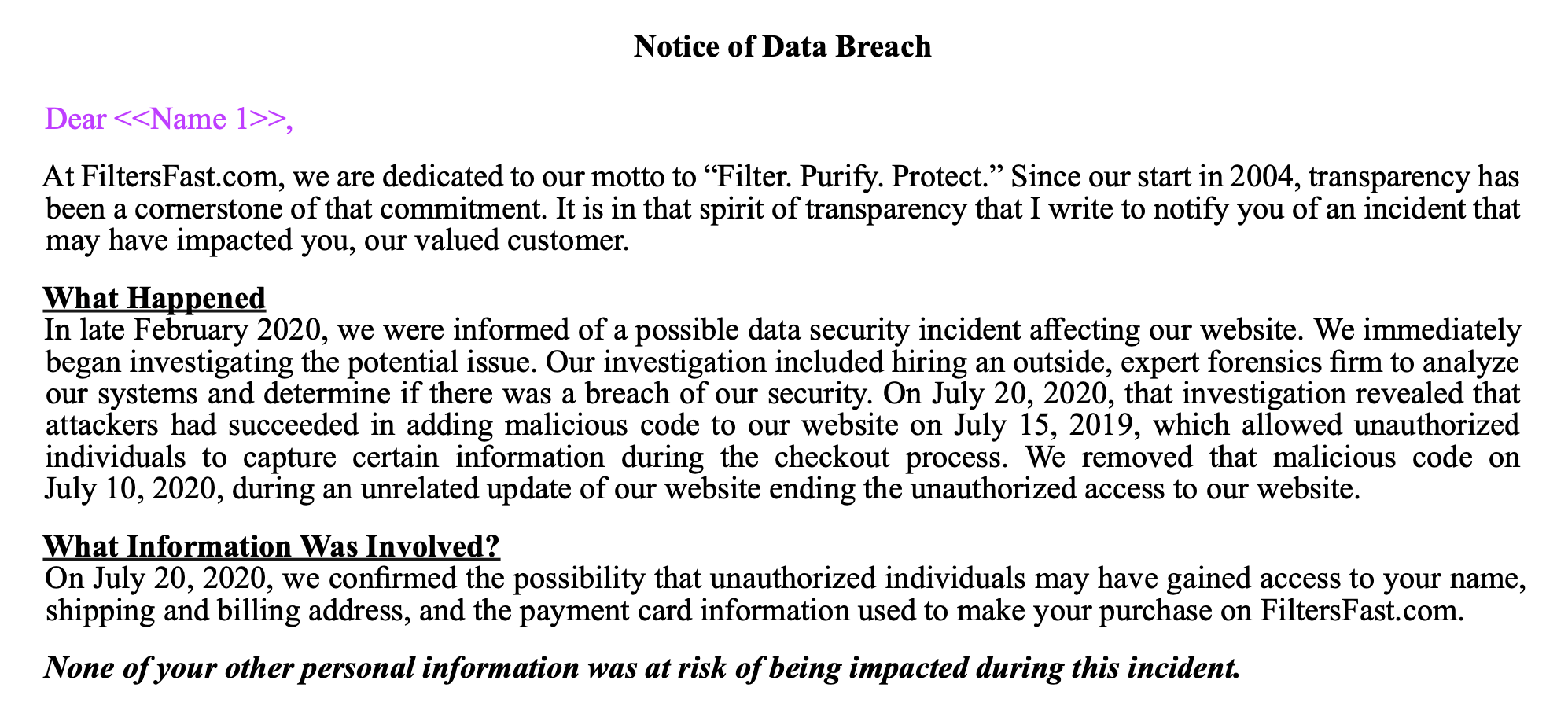 Partial Screenshot of the Notice of Data Breach