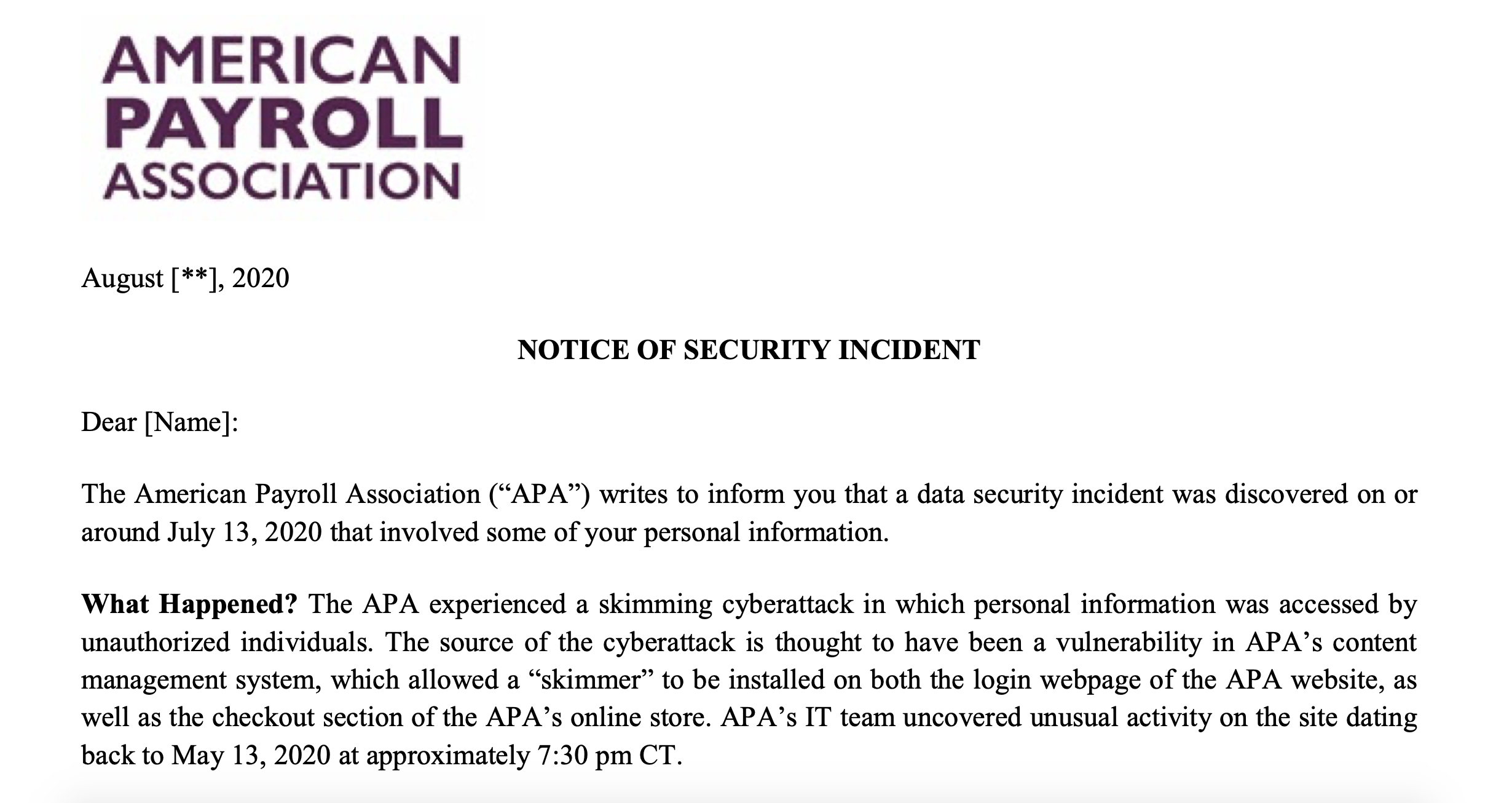 American Payroll Association Notice of Security Incident