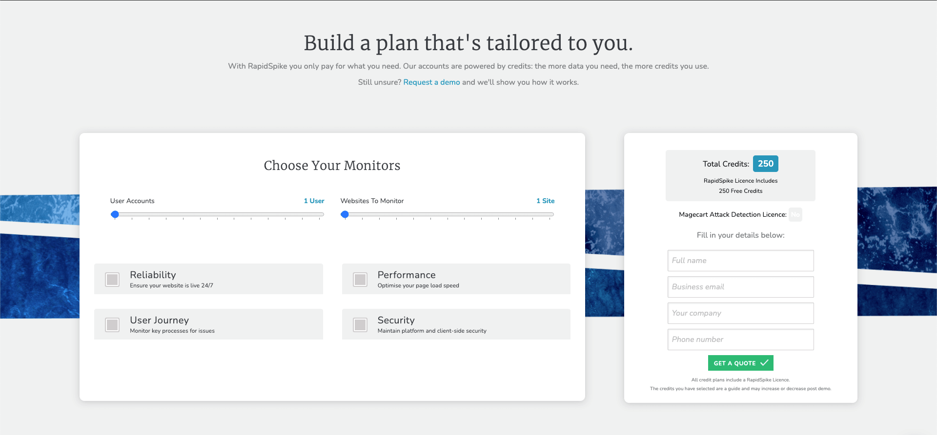 RapidSpike Build a Plan Page