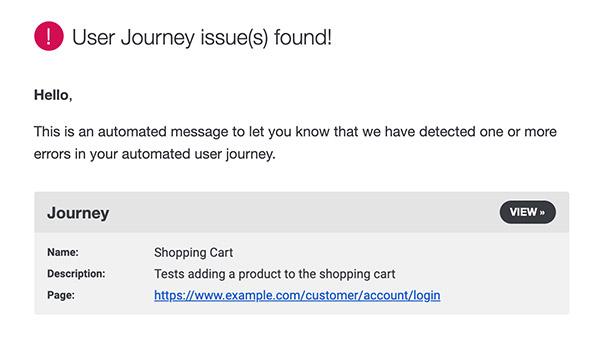 RapidSpike User Journey issues alert