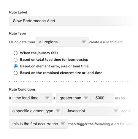 User journey alert rules