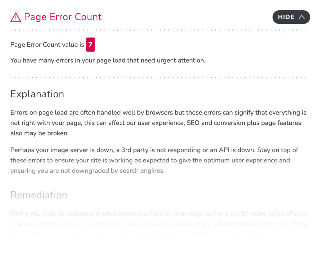 RapidSpike Page Error Count