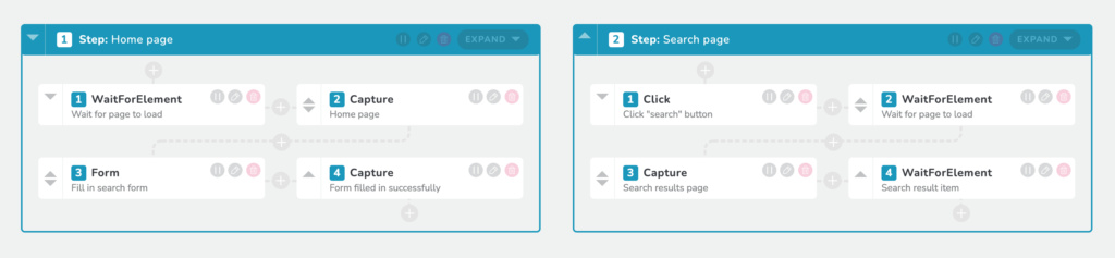 RapidSpike User Journey Script Editior - search page