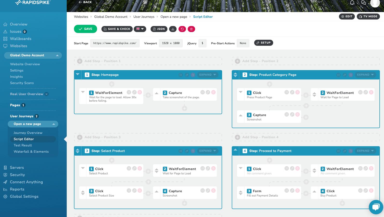 Website Monitoring - RapidSpike User Journey Script