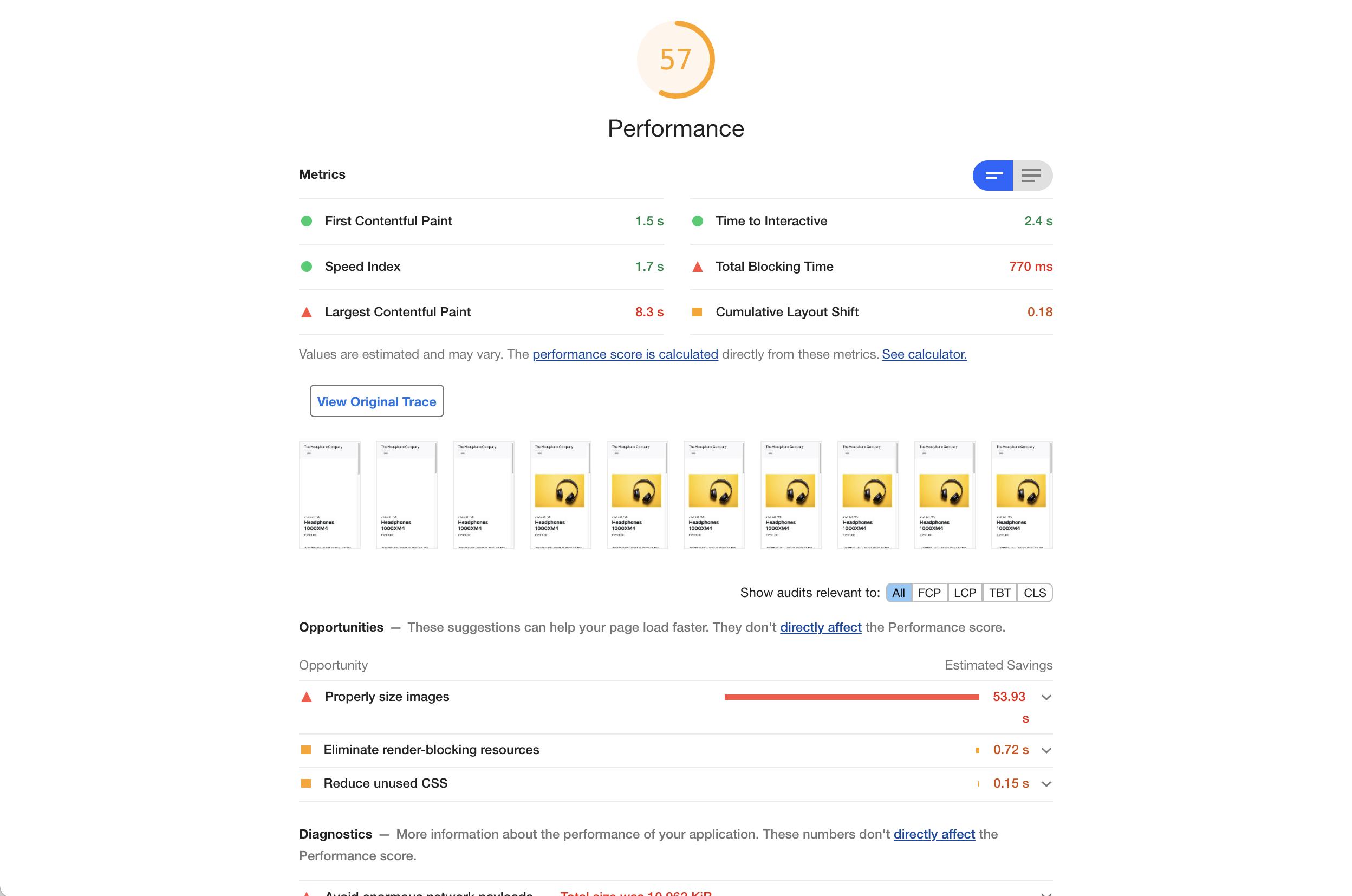 Website version B - Google Lighthouse Performance Audit