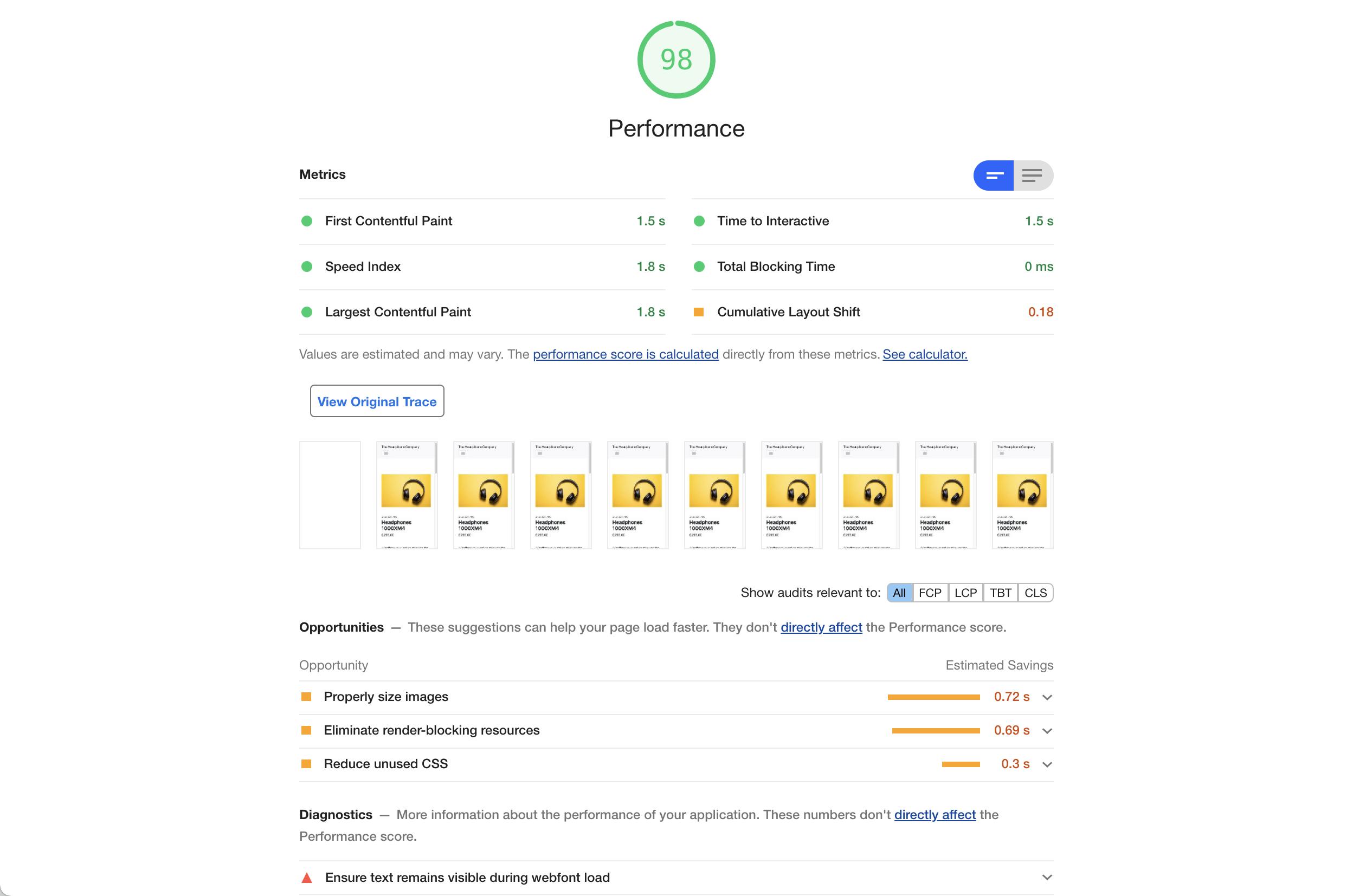 Website version A - Google Lighthouse Performance Audit