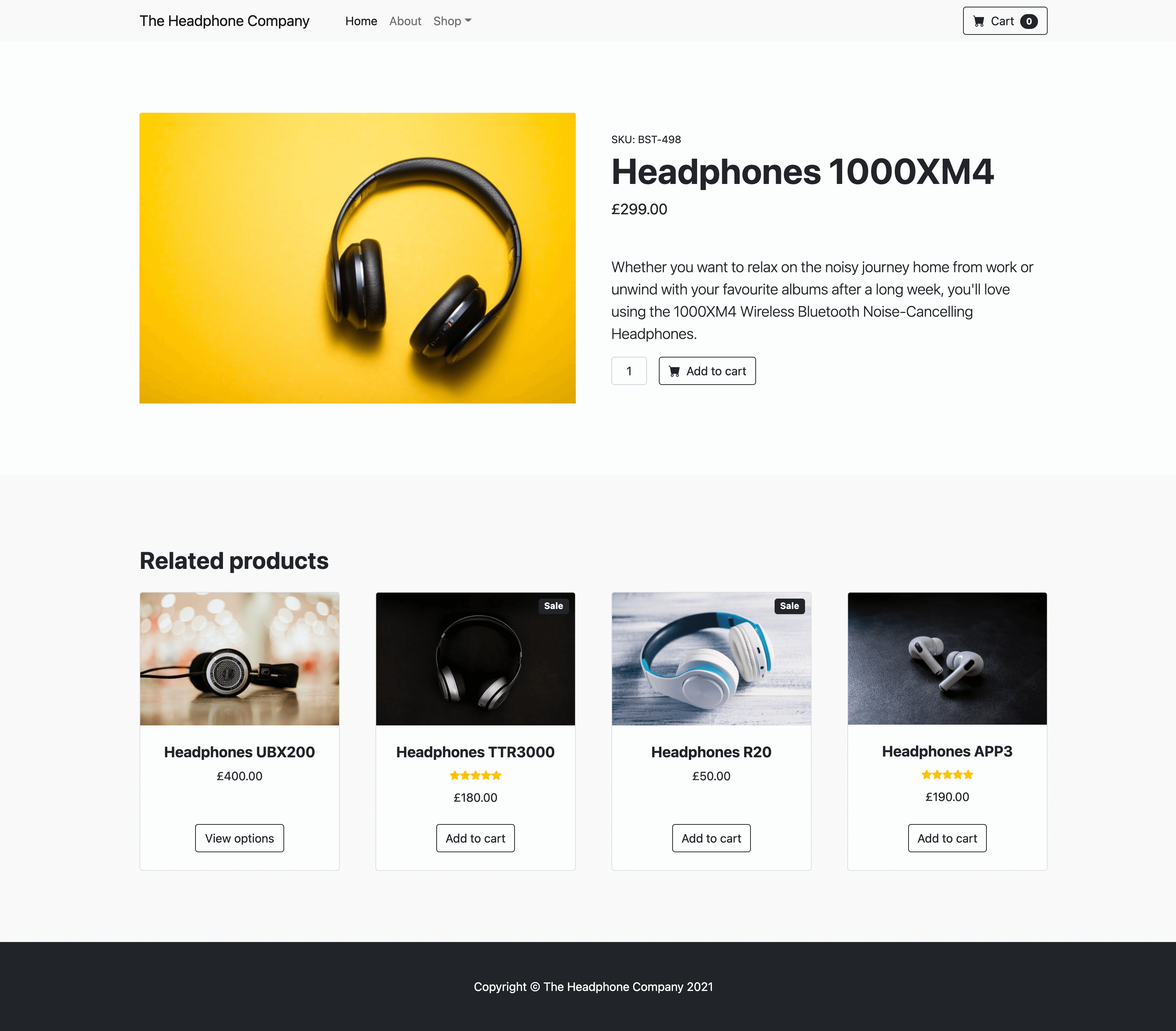 Website version A - Example website called The Headphone Company. Headphone product page.