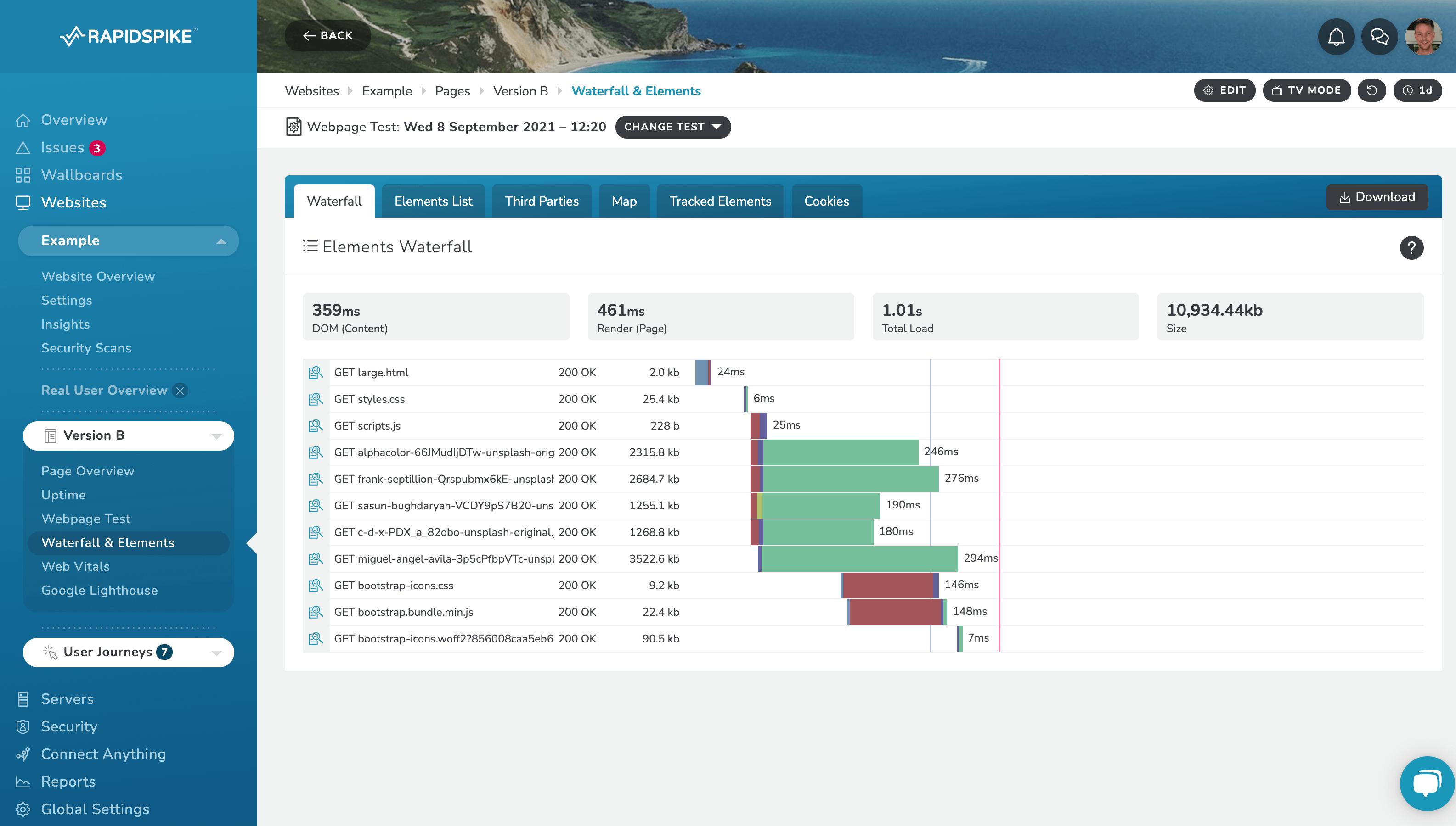 RapidSpike Webpage Test